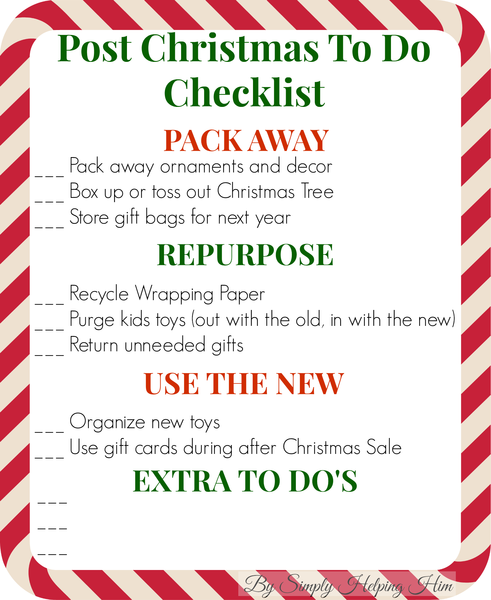 Checklist for After Christmas with Link Up